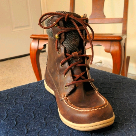 Sperry Bayfish Brown Leather Combat Boot Like New
